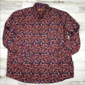 Alan Flusser Paisley Print Dress Shirt Men's XXL
